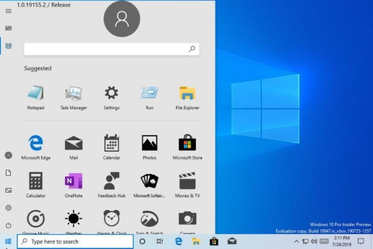 Windows 10 start menu - new