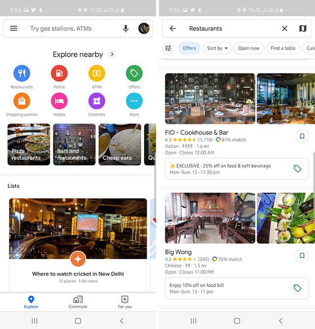 Google Maps Now Shows Discounts from Nearby Restaurants