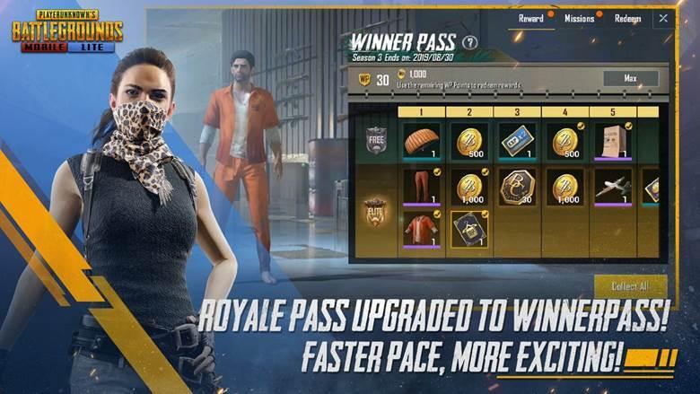 pubg mobile lite india launch - winner pass