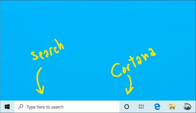 Search and Cortana separated