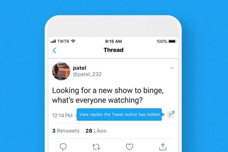 twitter hide replies option featured