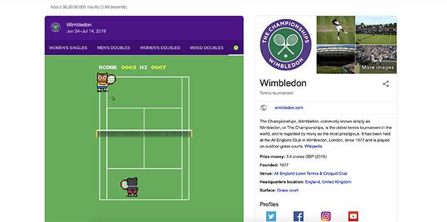 Google Easter Egg Wimbledon