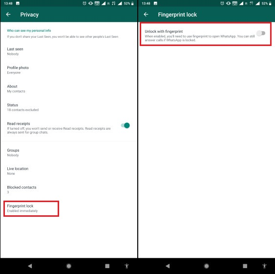 3. Enable Fingerprint Lock on WhatsApp on Android