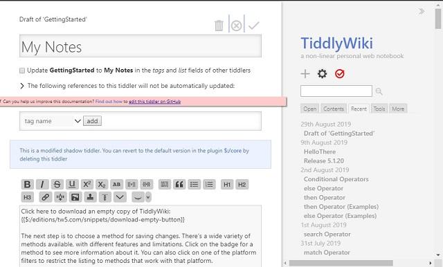 TiddlyWiki - Notion Alternatives