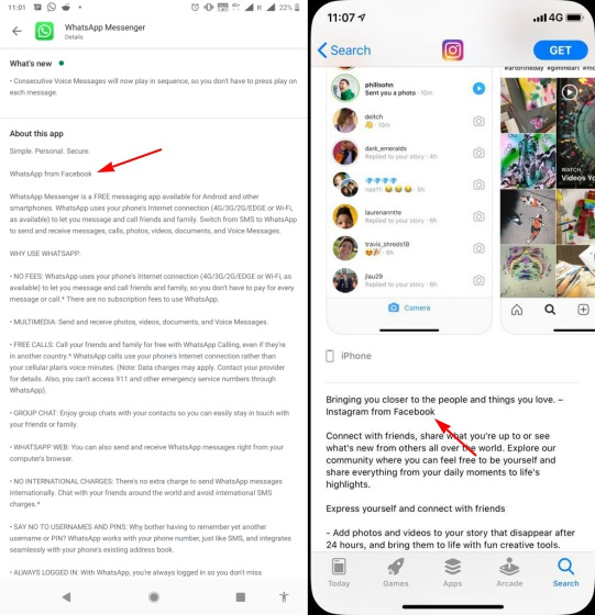 instagram from facebook and whatsapp from facebook branding