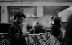 man using smartphone