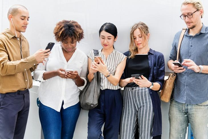 people using phones