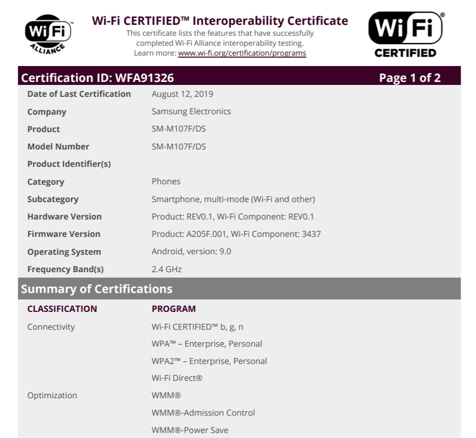 Samsung Galaxy M10s, Galaxy A50s Get Wi-Fi Certification Ahead of Launch