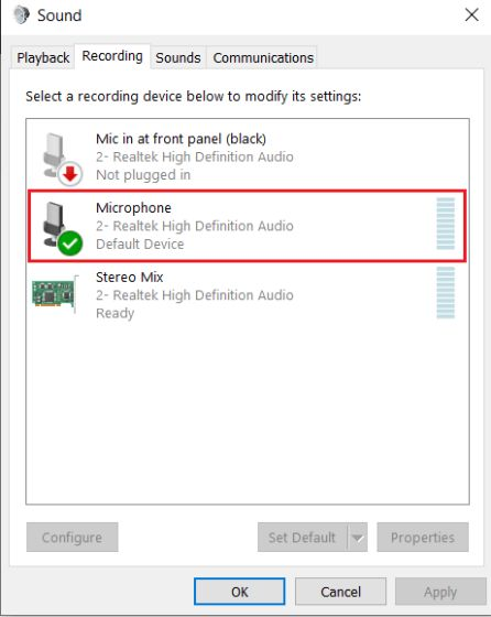 2. Configure Microphone Settings from Control Panel (2) Fix Microphone Issues on Windows 10