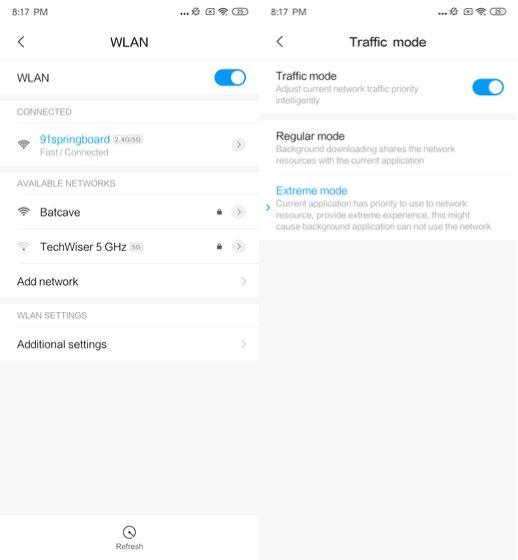 2. التحكم في إعدادات WiFi