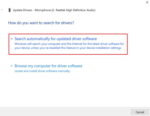 4. Update Audio Driver (3) Solve Microphone Bug in Windows 10