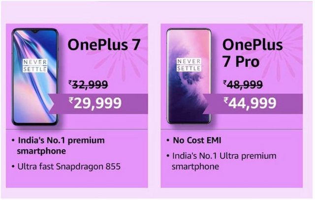 OnePlus 7, 7 Pro Prices Reduced by up to Rs 4,000 for Amazon's Great Indian Festival Sale