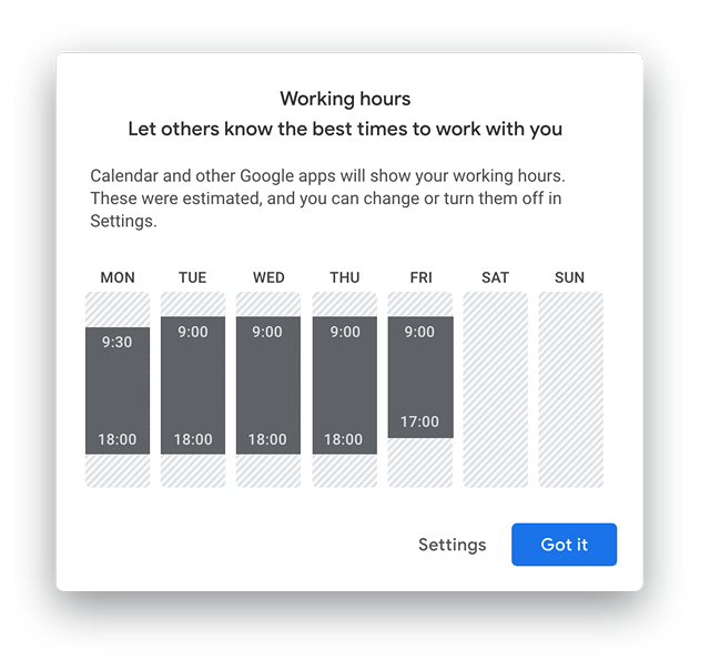 Working Hours - On boarding dialog