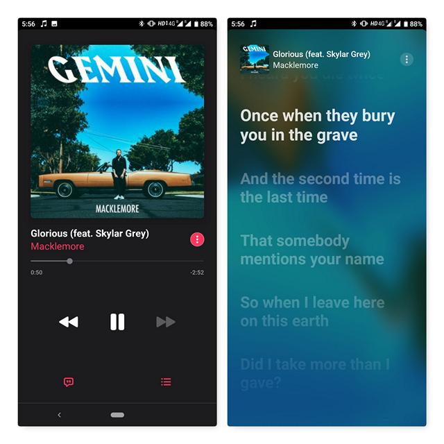 apple music live lyrics on android