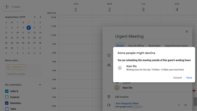 google calendar outside hours warning