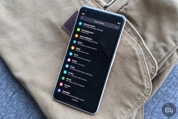 Android 10 - dark mode - Pixel 2 XL