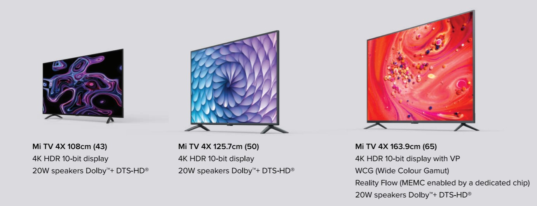 Mi TV 4X lineup