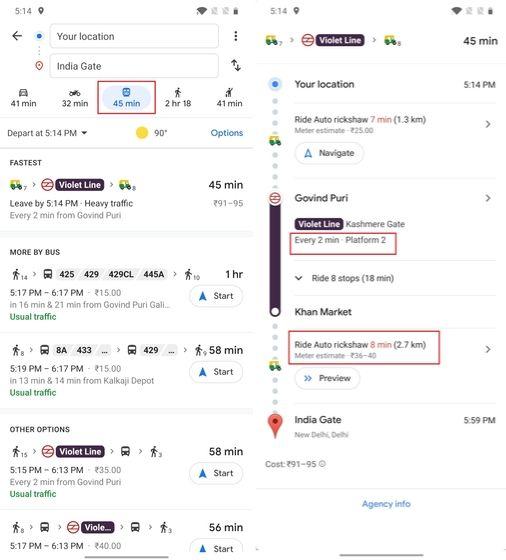 10. Find Detailed Transit Information
