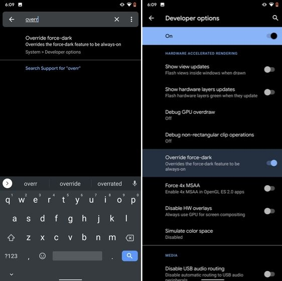 3. Force Dark Mode on all Apps