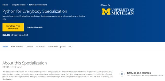 3. Python for Everybody by University of Michigan - Python Learning Courses Online