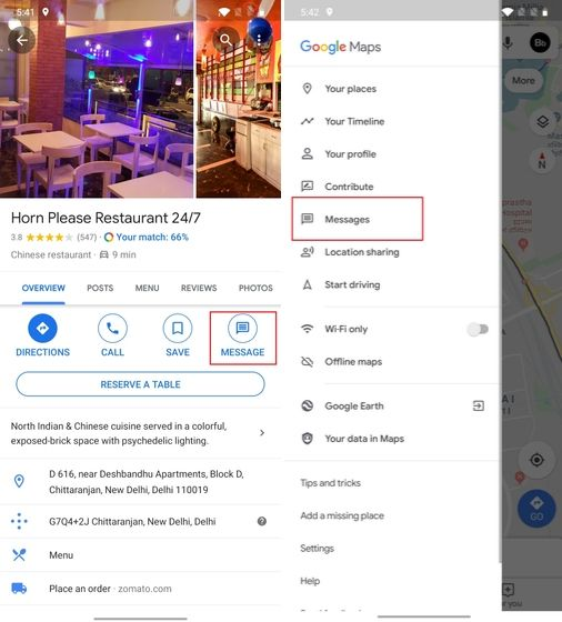 8. Message Shops and Restaurants with google maps tricks