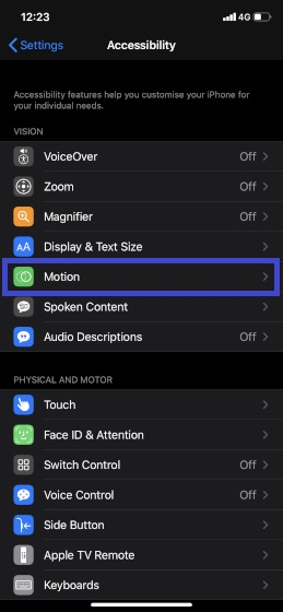 Choose Motion in Settings