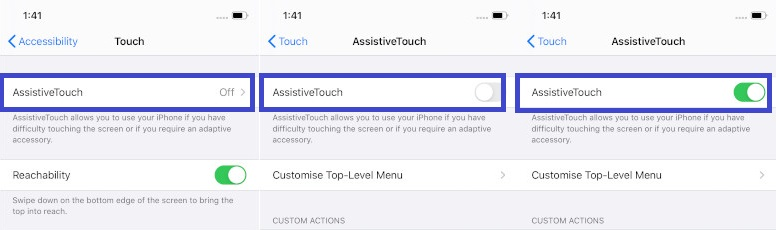 Enable AssistiveTouch on iOS 13