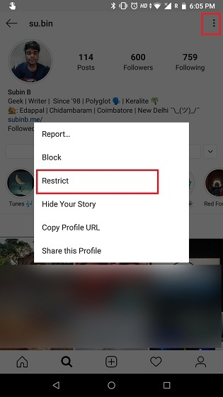 How to Use the Restrict Feature on Instagram 2