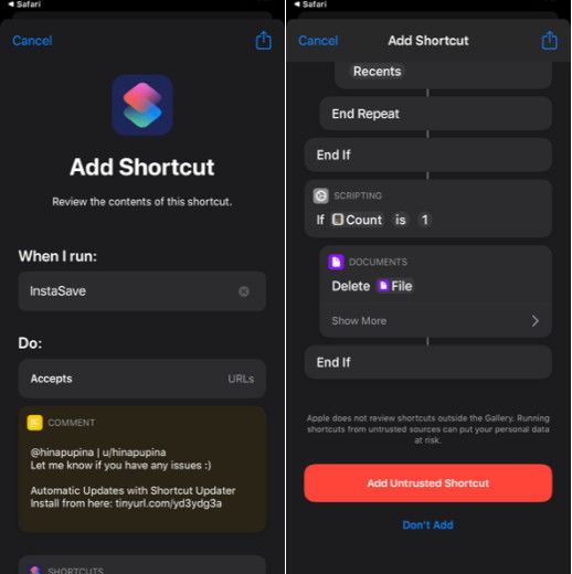 Install Untrusted shortcuts in iOS 13