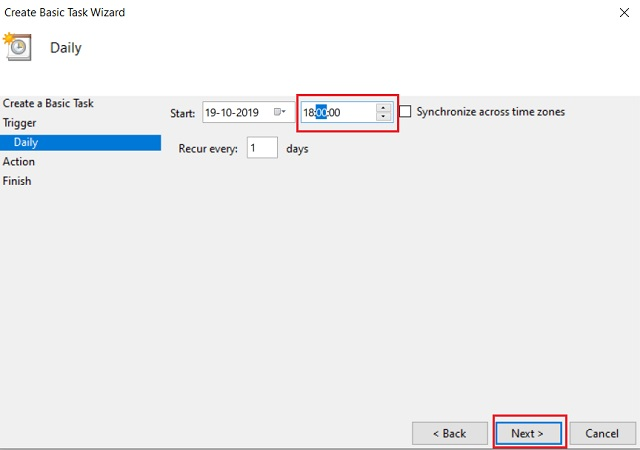 Schedule Dark and Light Mode on Windows 10 using Task Scheduler 4