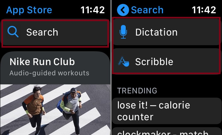 Search app in Apple Watch App Store