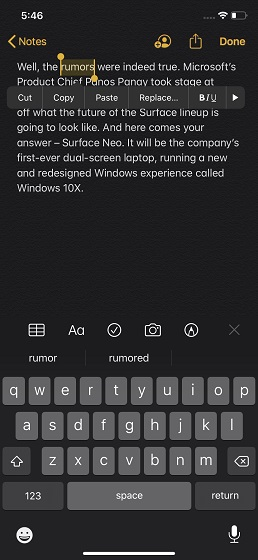 Select a word using a gesture iOS 13 or iPadOS 13