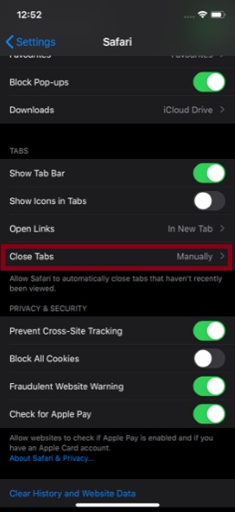 Tap on Close Tabs
