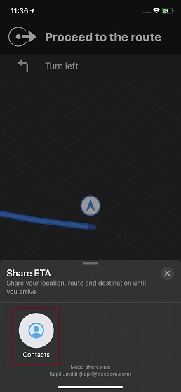 Tap on Contacts to share your ETA