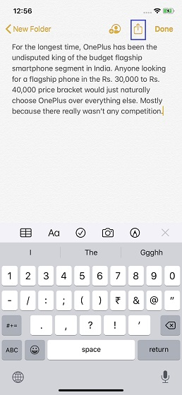 Tap on the share button in the Notes app