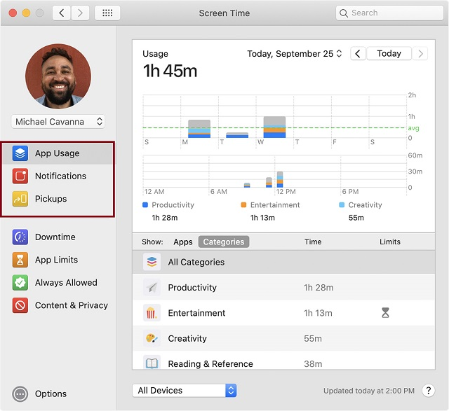 Track Screen Time Usage on macOS Catalina