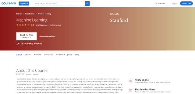 4. Machine Learning by Stanford University