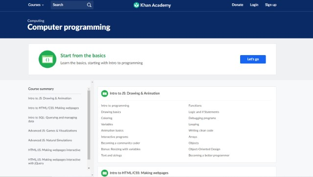 5. Computer programming on Khan Academy