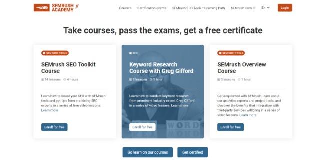 6. Digital Marketing Courses on SEMrush Academy