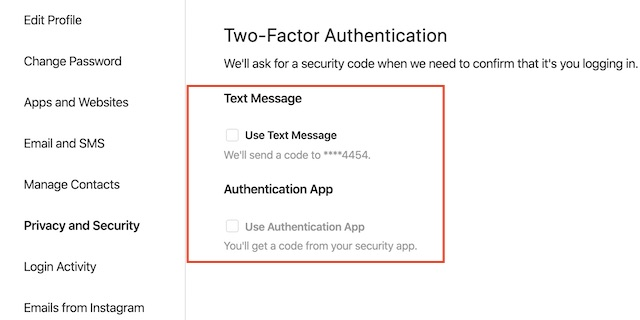 select your preferred security method like text or authenticator app