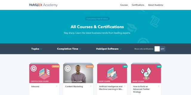 7. Online Digital Marketing Course on HubSpot Academy