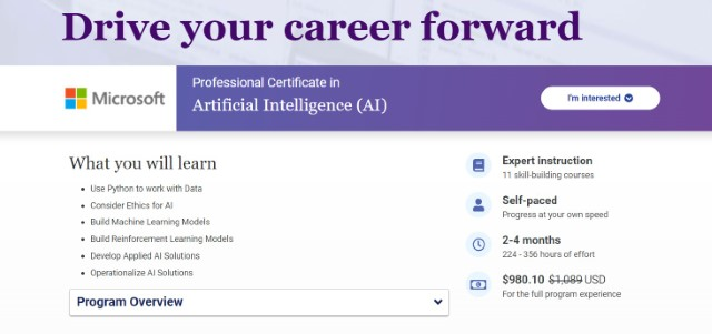 8. Certificate in Artificial Intelligence by Microsoft