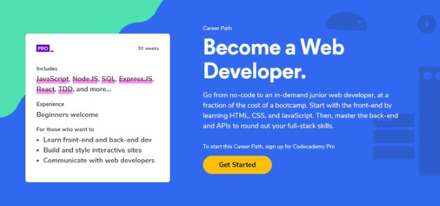 9. Become a Web Developer on Code Academy
