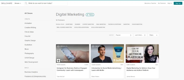 9. Digital Marketing Courses on Skillshare