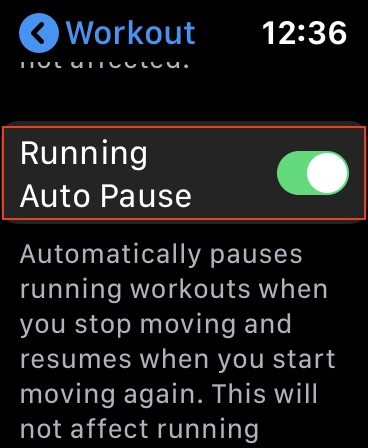 Auto Pause Running Workouts