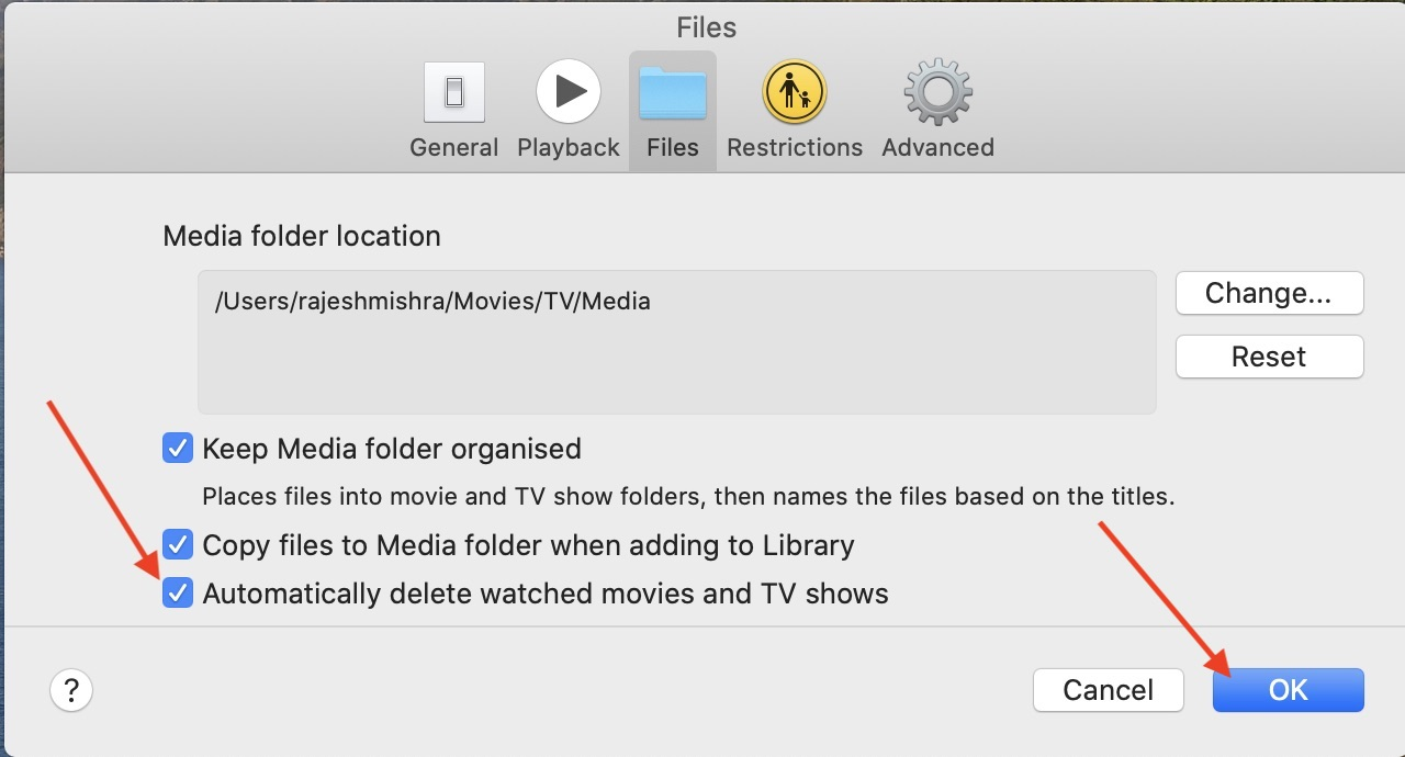 Automatically delete watched movies and TV sows