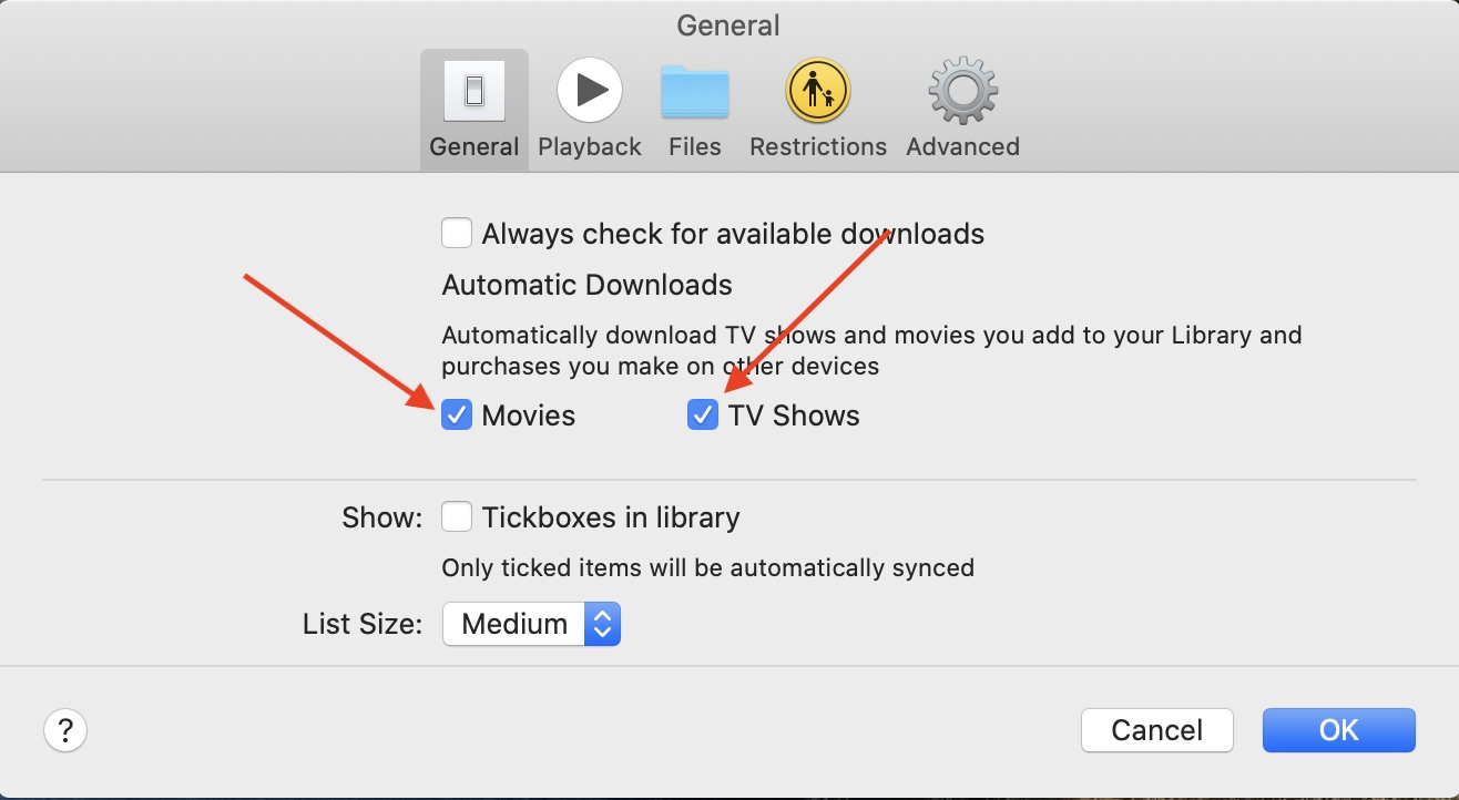Automatically download Apple TV content added to your library