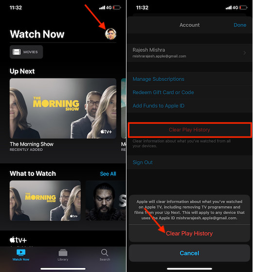 Clear history in Apple TV on iPhone or iPad