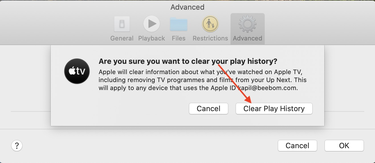 Clear play history of Apple TV app on Mac