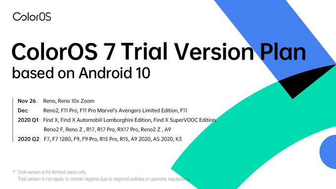 ColorOS 7 Trial Verison rollout dates